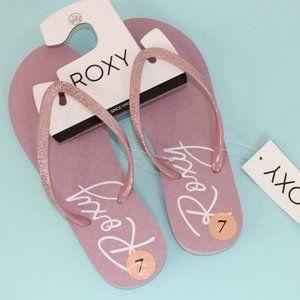 Roxy Pink Glitter Flip Flops // NWT